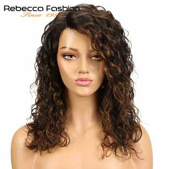 Rebecca Water Wave Human Hair Lace Wigs For Black Women L Part Peruvian Remy Hair Natural Wave Lace Wig 16 Inch Free Shipping - DISCOUNT ITEM  47% OFF All Category