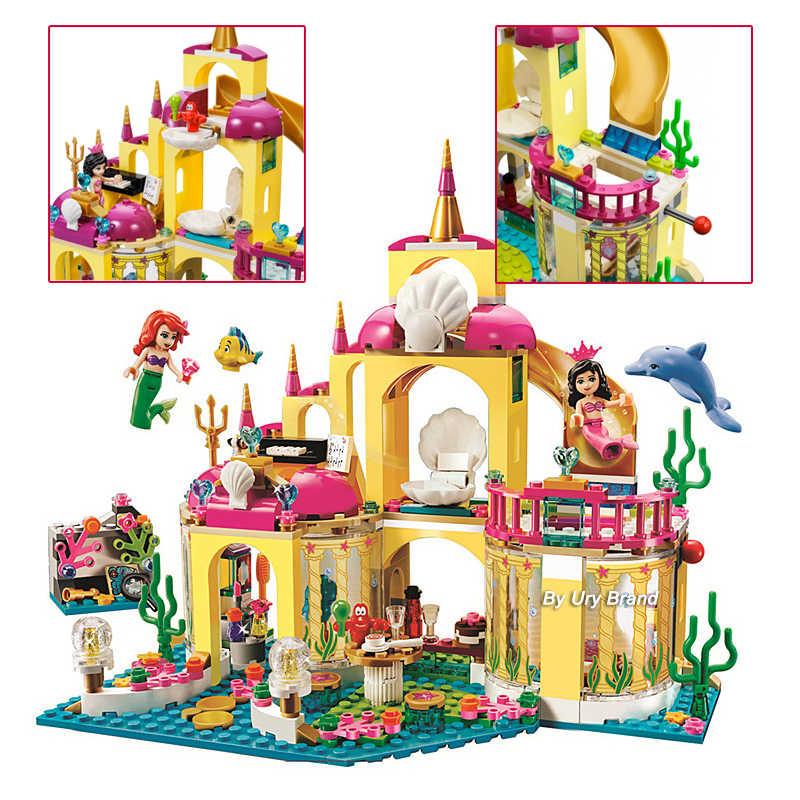 سلسلة صالح فريندز 41063 الأميرة تحت البحر قصر قلعة حورية البحر مجموعة لتقوم بها بنفسك نموذج ألعاب مكعبات البناء للأطفال الفتيات هدية