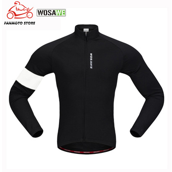 WOSAWE New Men's Motorcycle Jackets Fleece Thermal Jersey Long Sleeves Keep Warm Spring Fall Winter Motocross Cycling Bike Coat jakroo elt2 female thermal cycling jacket full sleeve high neck fleece cycling jersey windcoat warm up bike cycling equipment