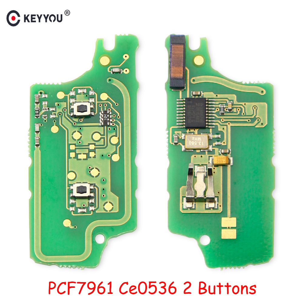 KEYYOU 2 Buttons Remote FSK Remote Key Circuit Electronic For <font><b>Peugeot</b></font> 207 307 407 408 308 For Citroen Fob <font><b>0536</b></font> with ID46 PCF7961 image