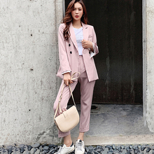 2019 Autumn Runway Casual Double-breasted Striped Women Blazer Suit Set