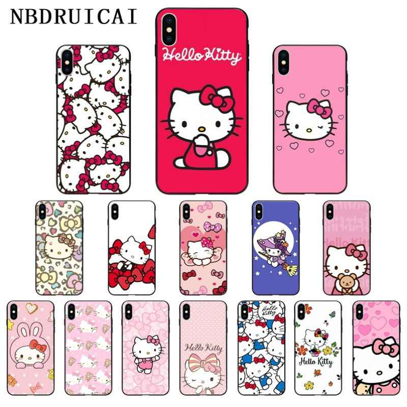 NBDRUICAI Lovely Pink Hello Kitty Coque Shell Silicone Phone Case for iPhone 11 pro XS MAX 8 7 6 6S Plus X 5 5S SE XR case