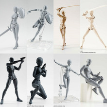 цена на 15cm Multi-joint movable Figures BODY KUN / BODY CHAN Grey / Orange Color Ver PVC Action Figure Collectible Model Toy