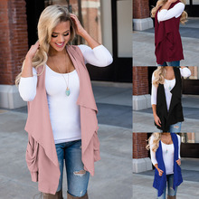Best Selling New Arrival For 2019 Fashion Hot Women Sleeveless Draped Open Front Cardigan Vest Solid Asymmetric Hem Coat hh88