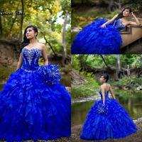 Classical Organza Cascading Ruffles Quinceanera Dresses Royal Blue Sweetheart Corset Ball Gown Sweet 15 Dress 2020 Prom Dresses