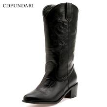 CDPUNDARI/ г., ковбойские ботинки для женщин, ботинки на высоком каблуке женские ковбойские ботинки зимняя женская обувь