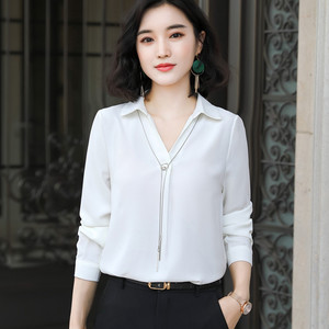 Image 4 - Fashion Women Autumn Fruit Green Shirt New Long Sleeve Casual V Neck Chiffon Blouses Office Ladies Business Work Top