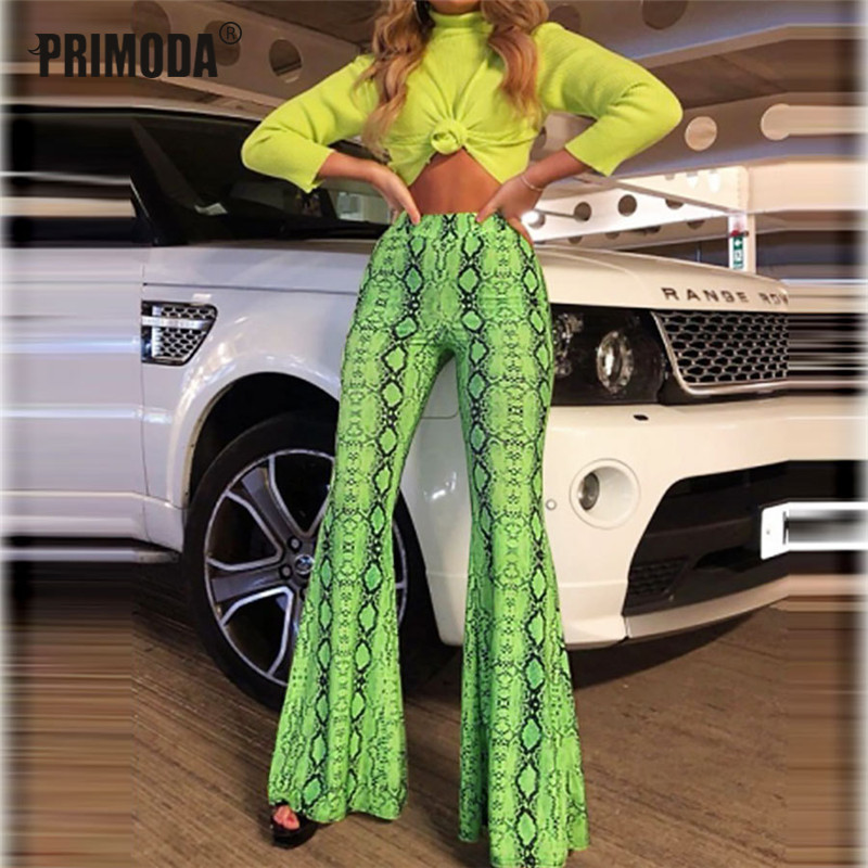 2019 New Autumn Winter Sexy Party Club Flare Pants Women Fashion Bodycon Trousers Neon Fluorescence Snake Print Leggings PR093M