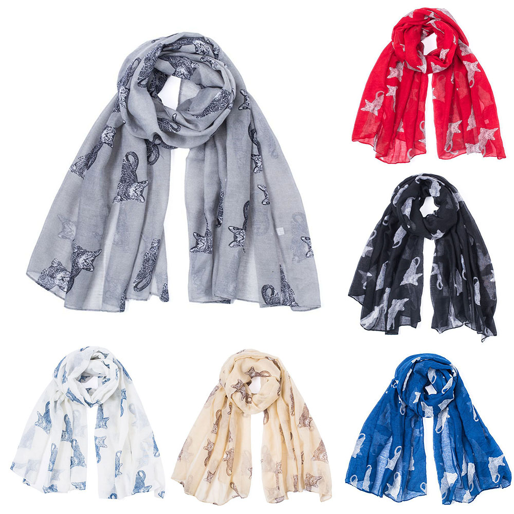 Ladies  Grey Navy Color Cat Print Scarves Cat Animals Scarfs Long Scarf Warm Wrap Shawl For Cute Woman