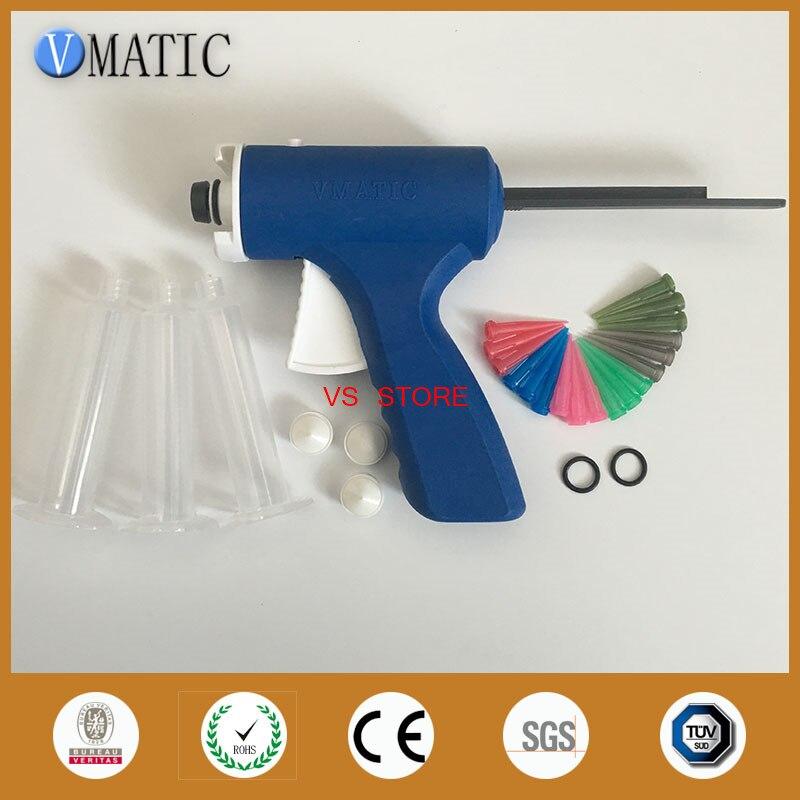 Free Shipping Blue Color 10cc/ml Syringe Manual Glue Caulking Gun With Pneumatic Syringe And Needle