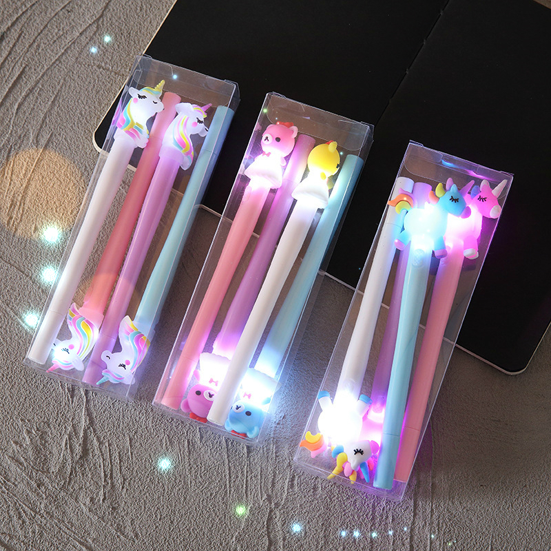 4Pcs/Set Cute LED Light Gel Pen Kawaii Unicorn Bear Pony Pen Candy Colored Neutral Pen For Kids Gifts School Office Stationery