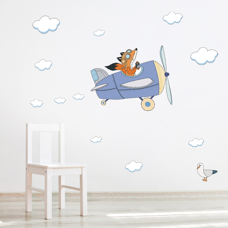 Cartoon Animal Bird Decal Fox Flying Airplane Cloud Wall Sticker Aircraft Glider For Kids Room Nursery Vinyl Home Art Decoration image