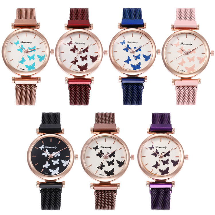 Milan Fashion Belt Series Bracelet Watch Multicolor Fine Surface With Butterfly Ribbon Watch Joker Lady Wrist Watch
