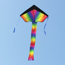 Colorful Rainbow Delta-shaped Flying Kite Outdoor Beach Toys for Outdoor Easy To Fly Kids Fun Toys Gifts with Tail Ribbons(China)
