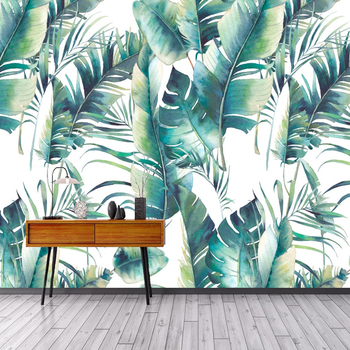 Custom Banana Leaf Mural Wall Covering Living Room Bedroom Dining Room Wall Decor Waterproof Canvas Painting Photo Wallpaper 3D beibehang custom mural wall paper southeast green banana leaf wallpaper bedroom living room background wall decor wallpaper roll