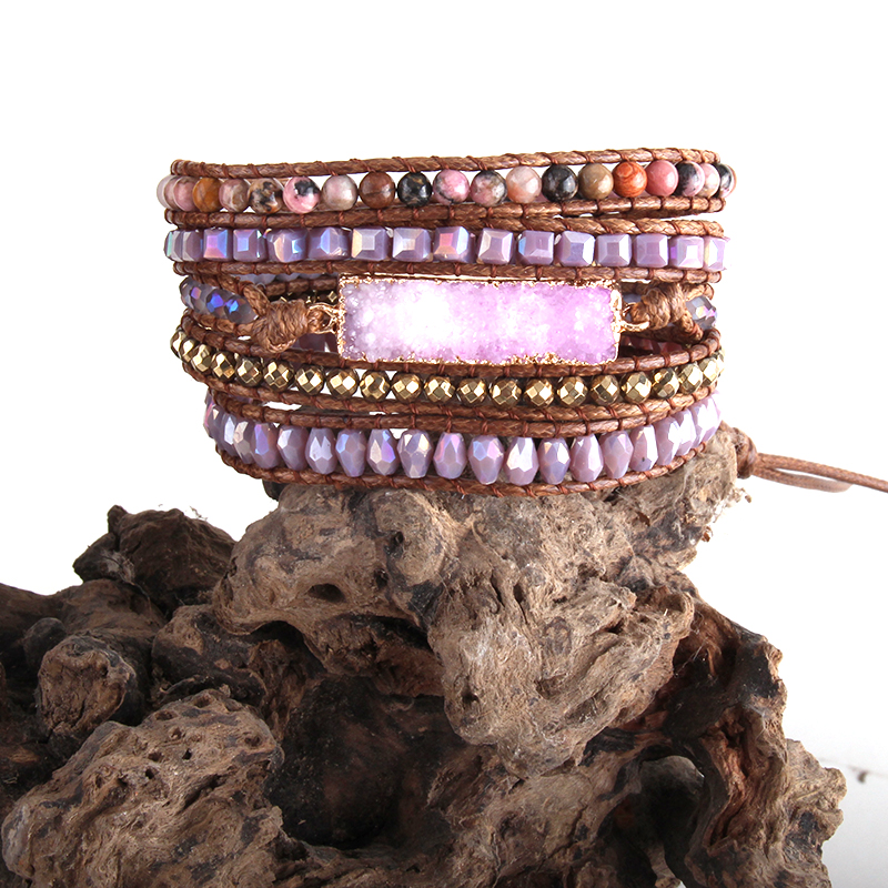 RH New Summer Fashion Women Armbander Yellow/Coral/Purple Crystal Natural Stones Mixed Druzy Charm 5X Wrap Bracelets Dropship