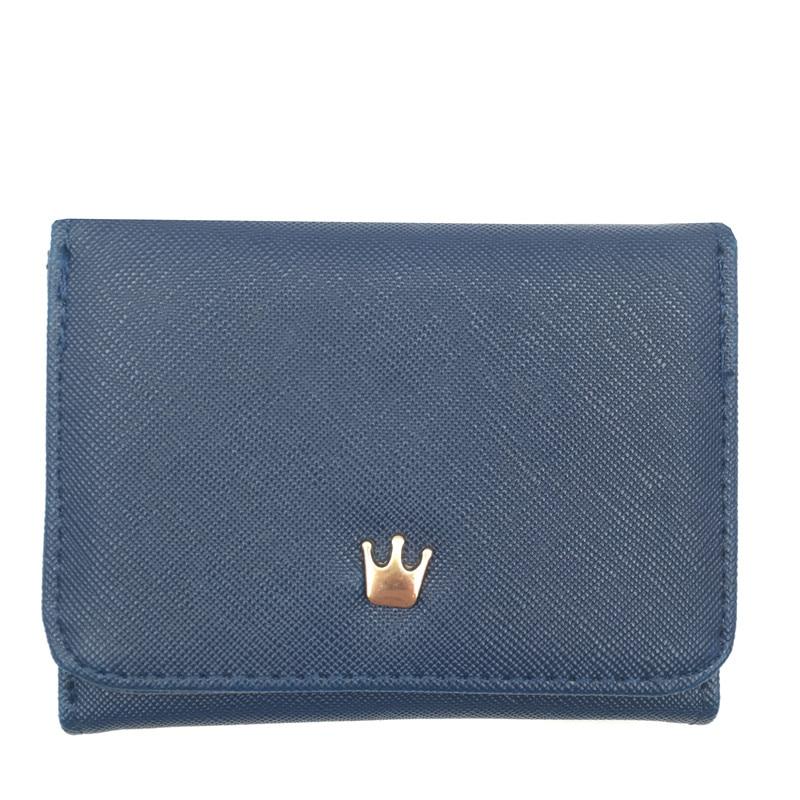 Женский маленький кошелек на молнии, женские короткие кошельки, украшенные короной, Мини кошельки для денег, складные кожаные женские портмоне, держатель для карт - Цвет: Blue
