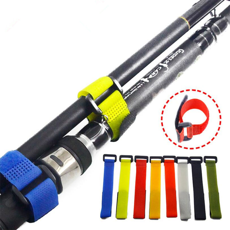 8 PCS Set Fishing Rod Tie Holder Strap Suspenders Fastener Hook Loop Cable Cord Ties Belt Fishing Tackle Box Accessories