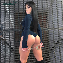 SUCHCUTE Body For Women Sexy Bodysuit Bodycon Gothic Clothes Zipper High Neck Clothe Female Autumn 2
