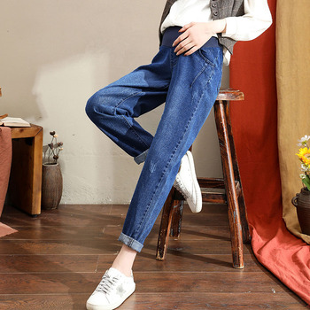 Ciążowe spodnie ciążowe jesienne jeansowe szarawary ciążowe dla kobiet w ciąży ubrania spodnie z wysokim stanem luźne jeansy tanie i dobre opinie CN (pochodzenie) WOMEN Denim Elastyczny pas Macierzyństwo Naturalny kolor Medium LOOSE COTTON spandex