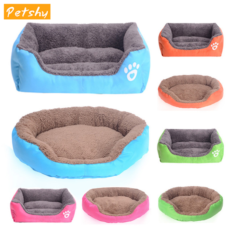 Petshy Round Square Oxford Pet Dog Cat Bed House Warm Soft Candy Color Cats Small Medium Large Dog Sleeping Pad Cushion Sofa