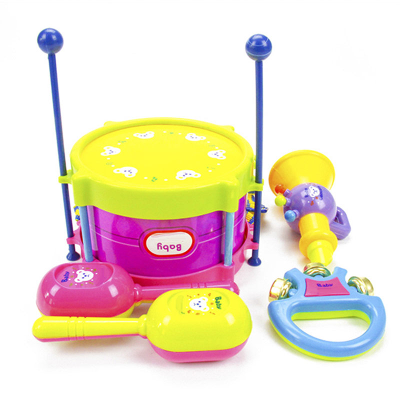 High Quality 5Pcs/Set Baby Drum Set Kids Roll Drum Musical Instruments Band Kit Educational Toy Gift