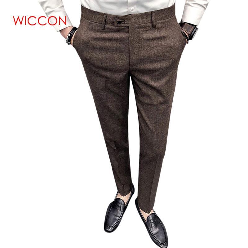 2020 Men's Fashion Boutique Pure Formal Business Suit Pants Men's Brand Wedding Dress Suit Pants Male Slim Casual Trousers