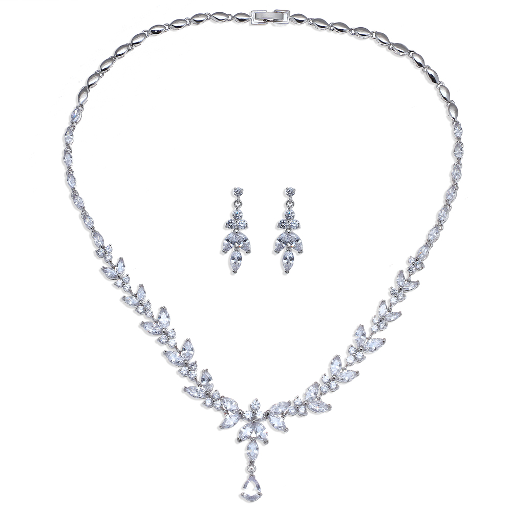 Emmaya Exquisite Jewelry Sets For Women Wedding Party Jewelry Accessories Cubic Zircon Stud Earrings & Necklace Gift 6