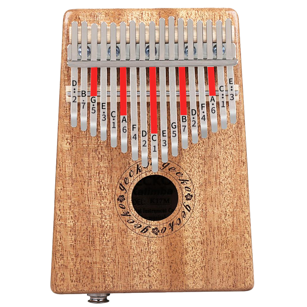Gecko 17-Key Kalimba Thumb Piano Solid Mahogany (with pickup) Instrument Tuner Sheet Music with EVA Case Study Book K17MEQ image