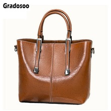 Gradosoo Patchwork Women Handbags Leather Shoulder Bags For Classic Messenger Female New Famous Brand Tote Bag HMB630