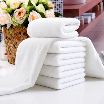 1Pc 1pcs/lot High Quality White Cheap Face Towel Small Hand Towels Kitchen Towel Hotel Restaurant Kindergarten Cotton To 30x70cm image