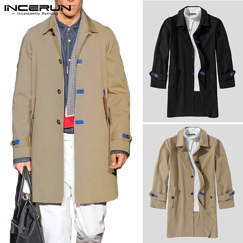 Men Trench Coats Long Sleeve Lapel Solid Casual Streetwear Fashion Single Breasted Jackets British Style Windbreaker INCERUN 5XL