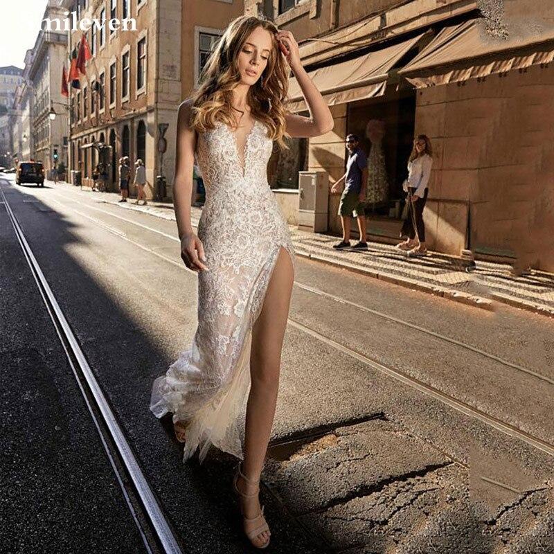 Smileven Wedding Dresses Mermaid 2020 Sexy Side Split Wedding Gown Backless Bride Dress Custom Made