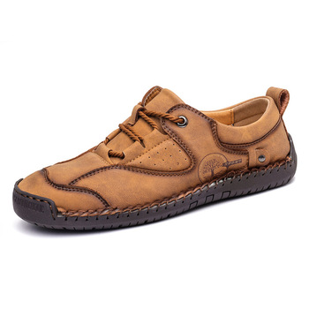 Youth casual leather shoes plus size handmade business driving shoes four seasons British style fashion moccasin shoes