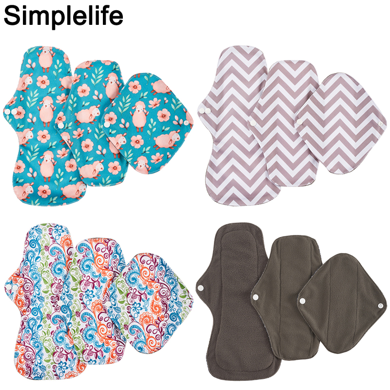 3pcs Bamboo Charcoal Reusable Menstrual Pads S M L Different Size Waterproof PUL Panty Liner Women Washable Sanitary Napkin