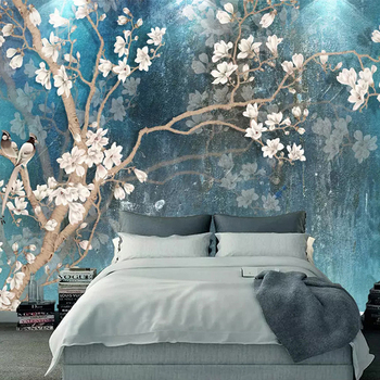 Custom 3D Wall Murals Wallpaper Nordic Blue Vintage Hand Painted Flowers Birds Oil Painting Wall Paper Bedroom Mural De Parede