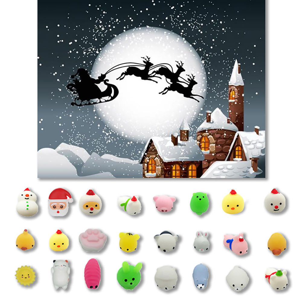 24PC Christmas Toys Mini Cute Squeeze Funny Toy Soft Stress And Anxiety Relief Toys DIY Decor Kids Toy Juguetes De Descompresion