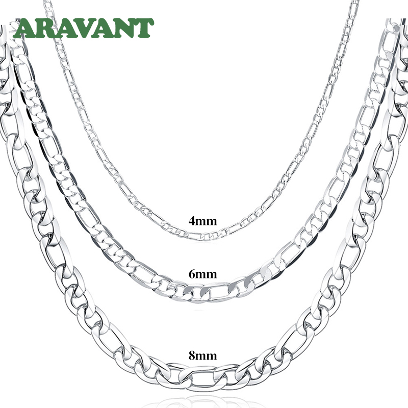 Chains Necklace Link 925-Jewelry Silver Curb Men for Female Fashion-Accessories Wide