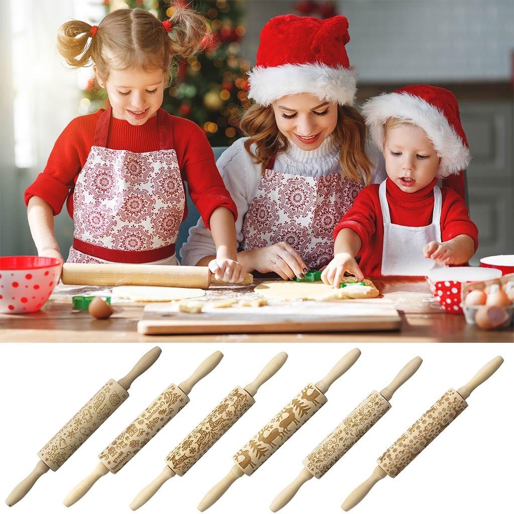 Noel noel oklava kazınmış oyma ahşap kabartmalı oklava mutfak aracı Rolo de Massa kabartma pişirme araçları