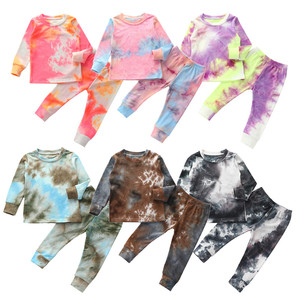 Autumn Kids Boy Girls Tie-Dye Clothes Set Spring Long Sleeve Pullover O-neck Tops T-shirt Pants 3Pcs Outfit for Infant Baby 1-6Y