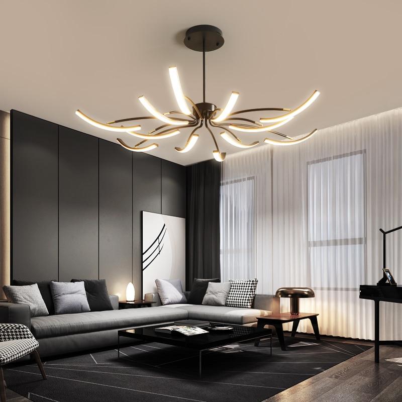 MDWELL mat noir/blanc fini plafond moderne à LEDs lumières pour salon chambre salle d'étude réglable nouveau plafonnier Led