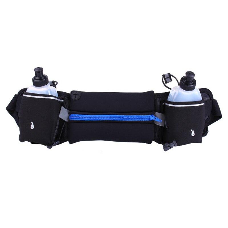 ABZC-Running Belt,Zipper Pockets Water Resistant Waist Bag,with Water Bottle (2 Bottles Included) Waist Pack For Running Hiking