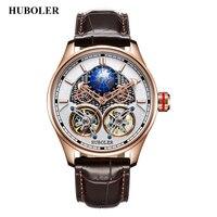 Relógio mecânico automático  relógios mecânicos de dupla turbilhão para homens marca de luxo relógio impermeável de designer de aço inoxidável