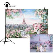 Allenjoy photo background romantic Eiffel Tower Pink Flowers painting beautiful for photographic studio