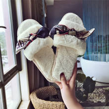 Women Slippers Winter Home Indoor Floor Plush Female  Beige Bowknot Flat Shoes Ladies Comfortable Soft Fur Slippers AEHQ008