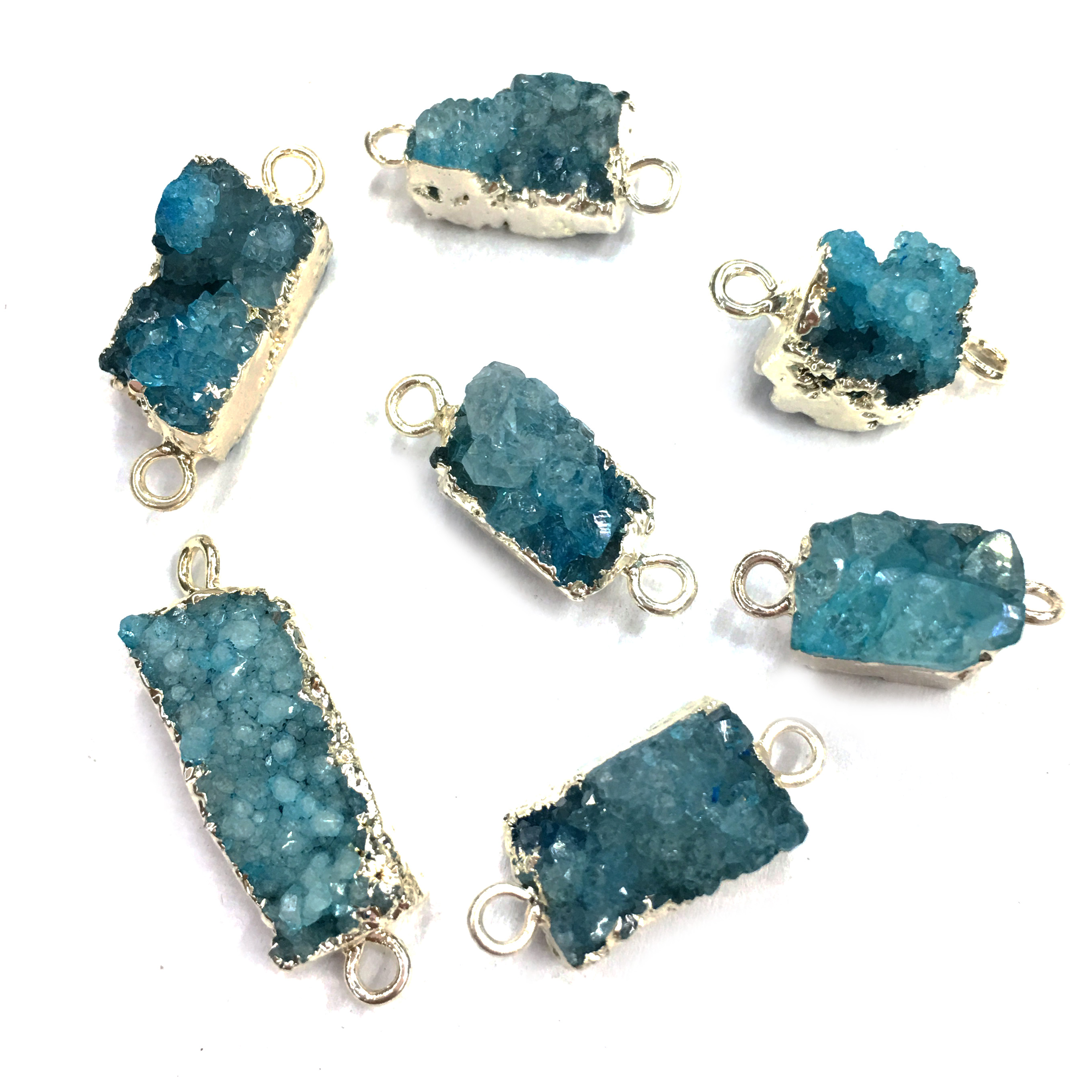 Natural Stone Crystal Pendants Fashion Irregular Shape Double Hole Connector For Jewelry Making DIY Bracelet Necklace Accessorie