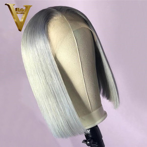 Grey Colored Human Hair Wigs For Women Blonde Bob Wig Remy Brazilian Blue Pink Closure Wig Straight Lace Front Wig Pre Plucked