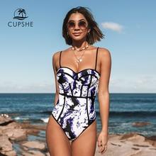 CUPSHE Tie dye 원피스 수영복 여성 섹시한 하트 넥 몰드 업 Monokini 2020 Girl Beach 슬림 수영복 수영복