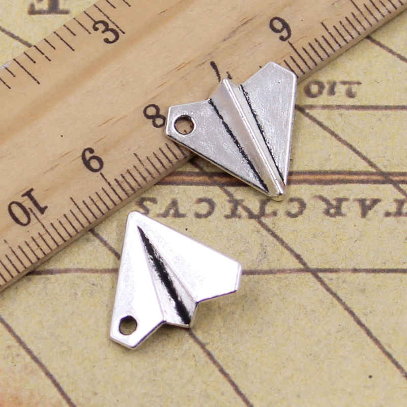8pcs/lot Charms Paper Airplane Plane 18x17mm Antique Silver Color Pendants Making DIY Handmade Tibetan Finding Jewelry image