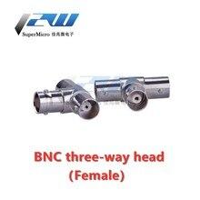 5 pçs/lote BNC three-way cabeça Q9 três do sexo feminino cabeça monitoramento adaptador cabeça de distribuição de sinal de vídeo monitoramento de three-way one-two